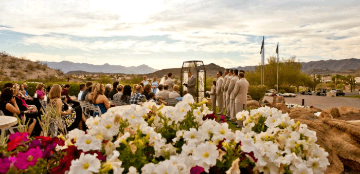 A wedding ceremony at Foothills Golf Club